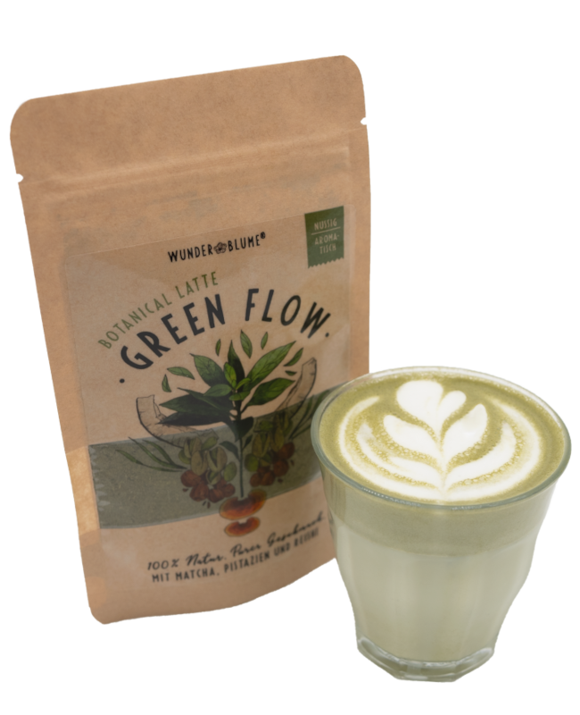 Botanical Latte mit Matcha, Pistazien und Reishei